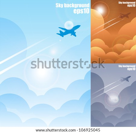 Sky and airplane background eps10