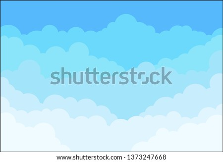 Sky and Clouds Background. Stylish design with a flat poster, flyers, postcards, web banners. Isolated Object. Vector illustration
