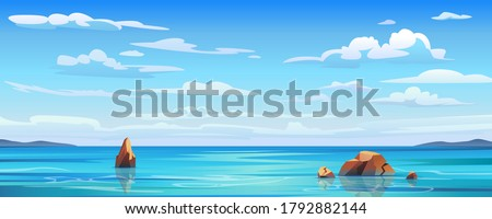 Sky and sun at sea background, ocean and beach vector island scenery empty flat cartoon. Ocean or sea water with waves and clouds in sky, summer blue seascape with cloudy sky and seaside panorama