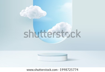 sky background vector 3d blue pastel rendering with podium and minimal cloud scene, minimal product display background 3d render sky clouds blue pastel. Stage 3d render product in sky clouds platform