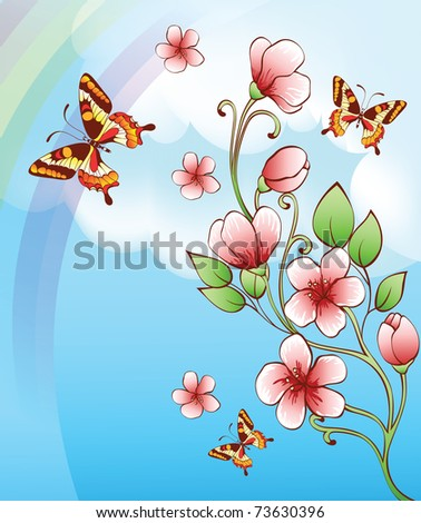 sky background with butterflies and flowers
