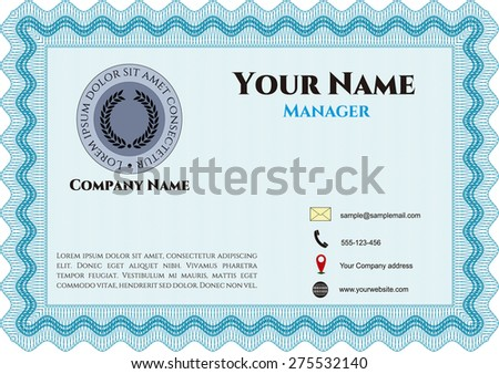 Sky blue business card template (retro style)