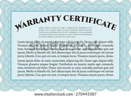 Sky blue horizontal warranty certificate