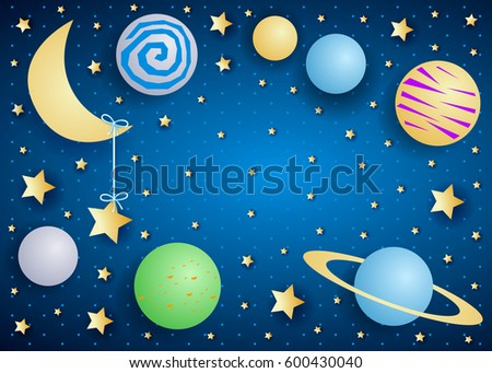 sky by night with moon  planets