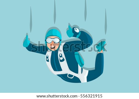 sky diving cartoon sportsman