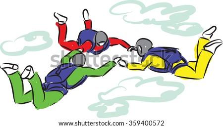 sky diving illustration