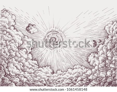 Sky drawing retro style. Sun rising over clouds, hope concept