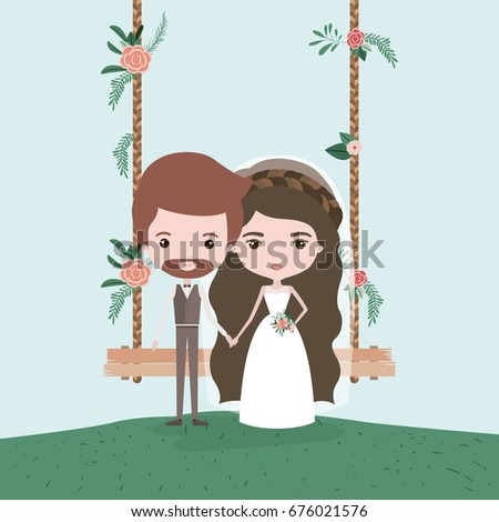 sky landscape scene background in grass with couple of just married in decorative swing in wooden poles with floral ornaments vector illustration #676021576