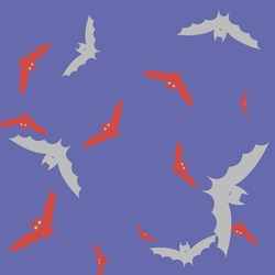 Sky Print Spooky Gothic Pink Bats Vector Background. Purple Chaos Colorful Grey Flying Bats Art Pattern. Attack Scary Creepy Night Halloween Modern Design. Motion Eyes Retro Red Wallpaper.