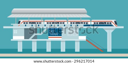 sky train station flat design