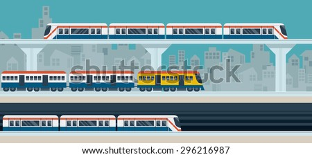 Sky Train, Subway, Illustration Icons Objects, Transportation Concept Set