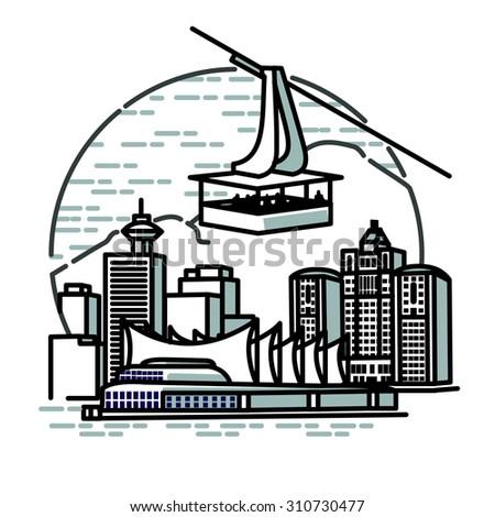 sky tram over city