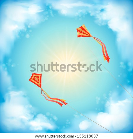 Sky vector design with white fluffy clouds, sun, blur, red flying kites on a clear summer day. Artistic background with space for text at the backdrop in blue and yellow pastel colors