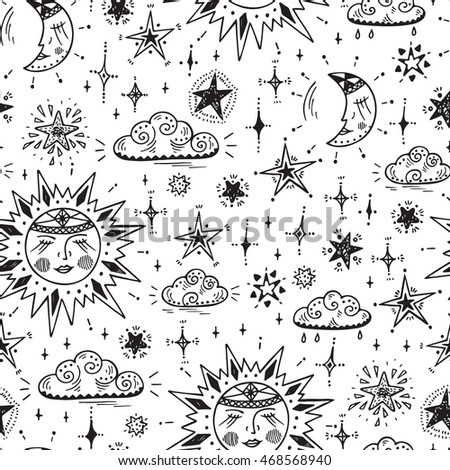 sky vector seamless pattern