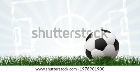 Sky view soccer border with sun on green football grass field. Vector stadium background banner. Sport finale or school, sports EK, WK game. Summer, spring time, Street ball.  2020, 2021, 2022