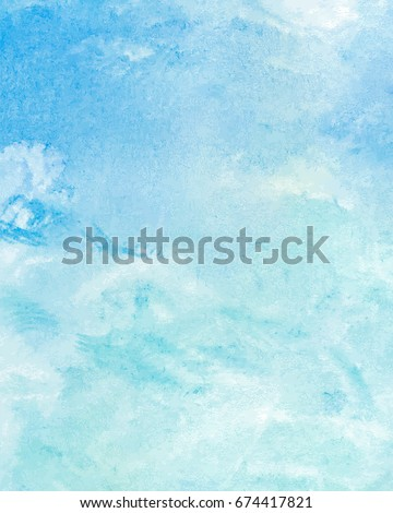 stock-vector-sky-with-clouds-and-blue-sea-water-abstract-hand-painted-watercolor-background-vector-illustration