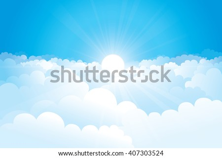 sky with clouds and sunshine on