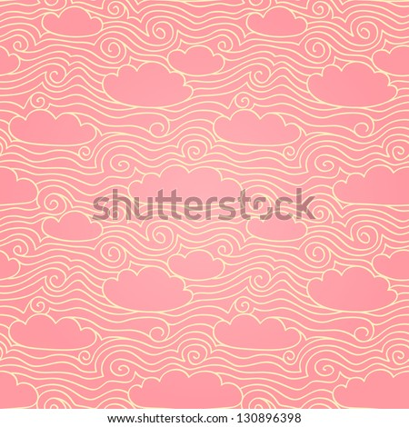 sky with clouds pink seamless