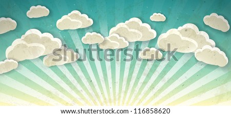 Sky with clouds. Vector vintage background - stock vector