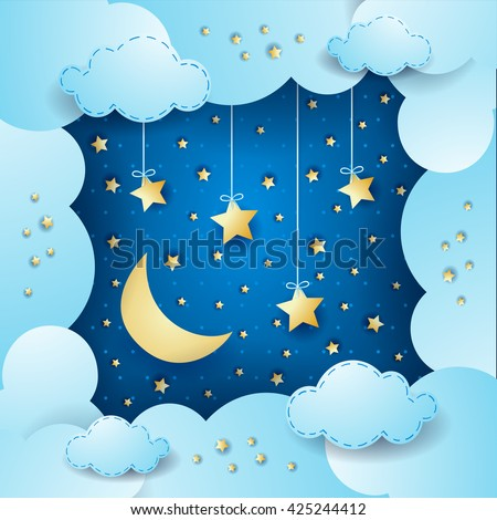 sky with moon  clouds and