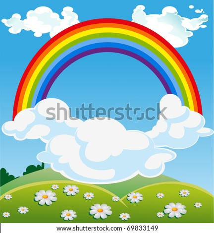 Sky Green Sky With Rainbow Over Green