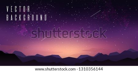 Sky with stars. Starry sky with mountain landskape, sunset sky, stardust and clouds. Vector illustration