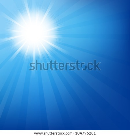 Sky With Sunburst, Isolated On Blue Background, Vector Illustration