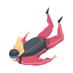 Skydiver Doing Base Jump with Parachute in Sky, Freefall, Skydiving, Parachuting Extreme Sport Cartoon Style Vector Illustration
