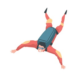 Skydiver Enjoying Freefall Freedom, Man Jumping with Parachute, Skydiving Extreme Sport Cartoon Style Vector Illustration