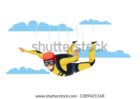 skydiver flat vector character
