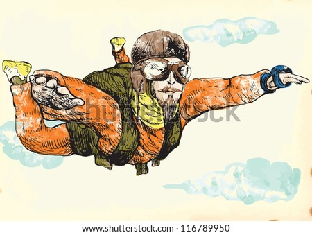 Skydiver. Illustration of parachutist (foreground) on vintage paper (background). Description: Editable in several layers (at least three layers). Number of colors in each layer: no more than sixteen.