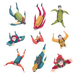 Skydivers Doing Base Jump with Parachutes in Sky, Freefall, Skydiving, Parachuting Extreme Sport Cartoon Style Vector Illustration