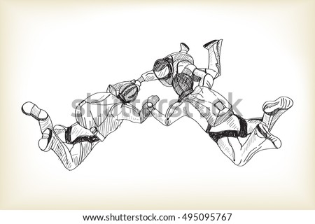 skydiving  free hand drawing