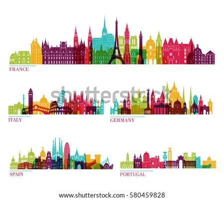 Skyline detailed silhouette set (France, Italy, Germany, Spain, Portugal). Vector illustration