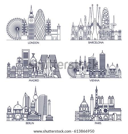 Skyline detailed silhouette set (Paris, London, Barcelona, Madrid, Vienna, Berlin ). Vector illustration