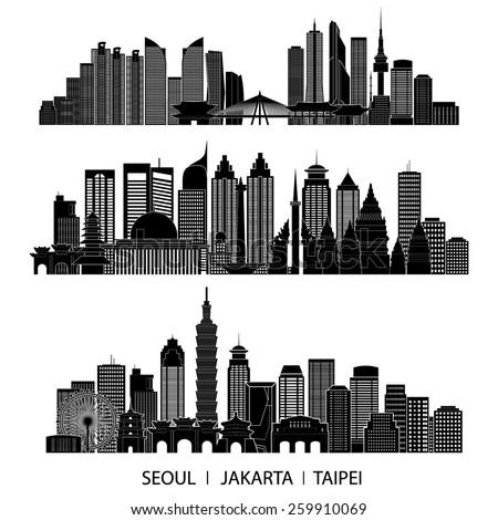 skyline detailed silhouette set