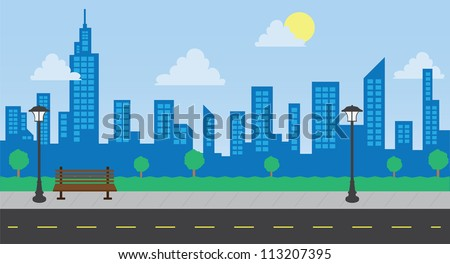 Skyline in the park with street during the day