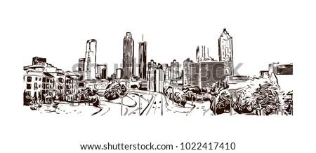 Skyline of Atlanta City in Georgia, USA. Hand drawn sketch illustration in vector.
