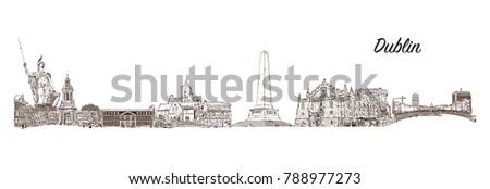 skyline of dublin  capital of