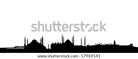 skyline of Istanbul, Turkey - stock vector