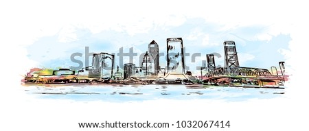 Skyline of Jacksonville City in Florida, USA. Watercolor splash with  Hand drawn sketch illustration in vector.