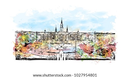 Skyline of New Orleans City in Louisiana, USA. Watercolor splash with Hand drawn sketch illustration in vector.