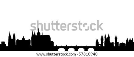 Skyline of Prague - stock vector