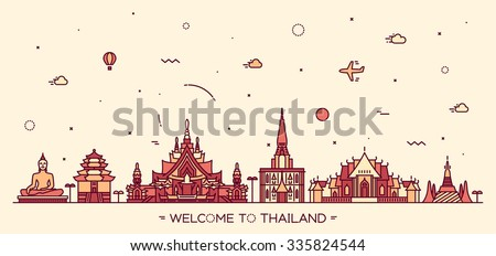 Skyline of Thailand, detailed silhouette. Trendy vector illustration, linear style.