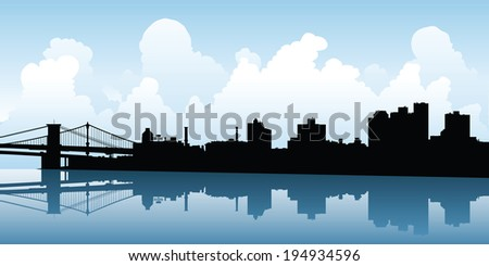 Skyline silhouette of the city of Brooklyn, New York, USA.