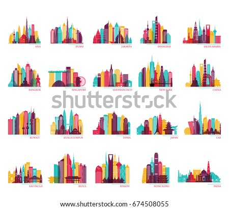 Skyline silhouette set (India, China, Japan, Seoul, Jakarta, Bangkok, Kuwait, Dubai, Saudi Arabia, Riyadh, Doha, Shanghai, New York and other). Travel and tourism vector background.