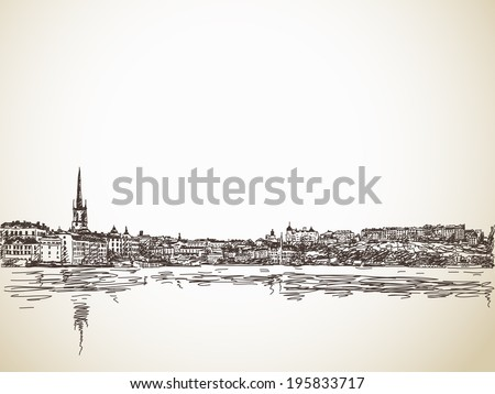 skyline sketch of stockholm