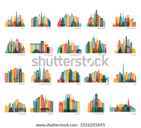 Skylines silhouette set (India, China, Japan, Seoul, Jakarta, Bangkok, Kuwait, Dubai, Saudi Arabia, Riyadh, Doha, Shanghai, New York and other). Travel and tourism background. Vector illustration