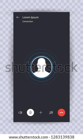 Skype call screen template. Mobile skype layout, Mockup Skype. UI,UX,Kit interface. Call screen smartphone. Vector illustration eps10