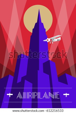 Skyscraper and airplane poster in art deco style. Vintage travel illustration.